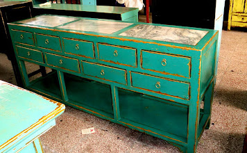 "Photo: F 007 Chinese Contemporary Cabinet with Marble Top aqua blue lacquer finished 74""W x 18""d x 34""H Sale Price $1,350"