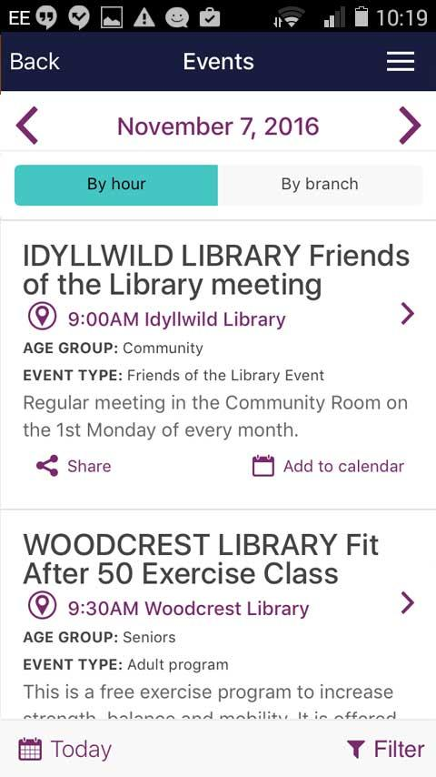 Riverside County Library- screenshot