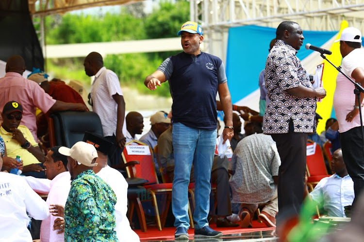 Mvita MP Abdulswamad Nassir at Mama Ngina Waterfront Park for a BBI rally on Saturday, January 25, 2021