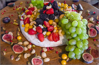 Photo: Fruit platter on wine barrel head
