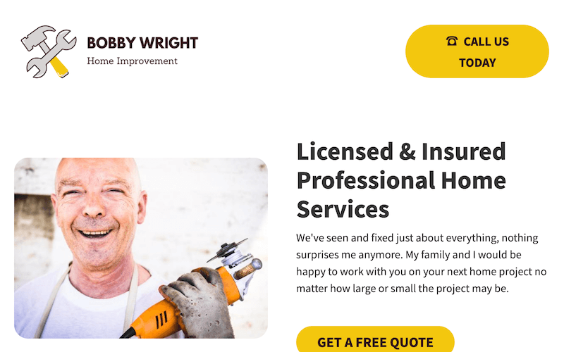 service landing page example
