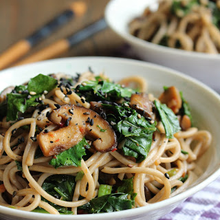 Kale & Soba with Garlic Butter Mushrooms