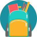 Image of a green and yellow backpack with school supplies coming out of the top, with a turquoise circle behind it all.