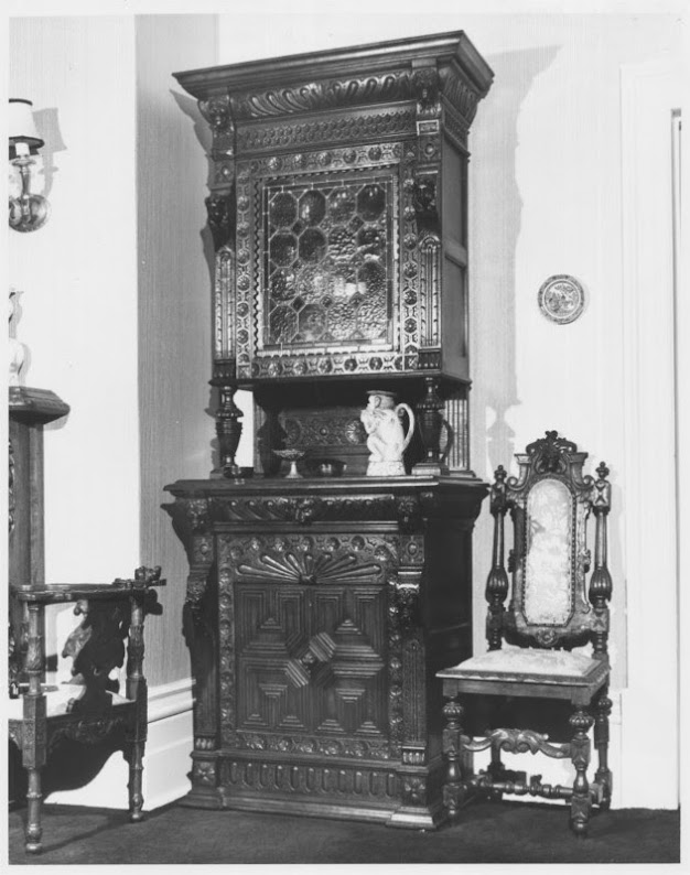 The home is decorated with Jacobean-style English oak furniture that was hand-carved in France especially for this summer home.
