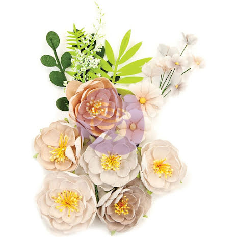 Prima Marketing Pretty Pale Fabric Flowers 10/Pkg - Arid Land UTGÅENDE