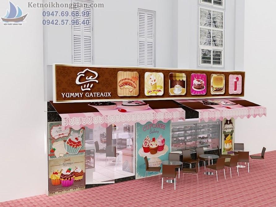 thiết kế cửa hàng bánh ngọt sử dụng cửa kính