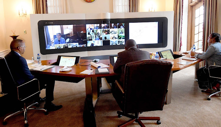 President Cyril Ramaphosa chairing a virtual meeting of the National Command Council from his official residency Mahlamba Ndlopfu. Picture: GCIS/JARIUS MMUTLE