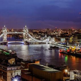 Tower Bridge by Dimitri Foucault - Travel Locations Landmarks ( tower, pwclandmarks, london, night, bridge, city )