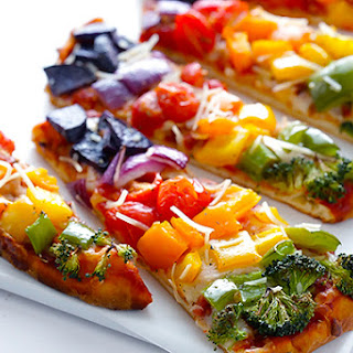 Rainbow Veggie Flatbread Pizza.