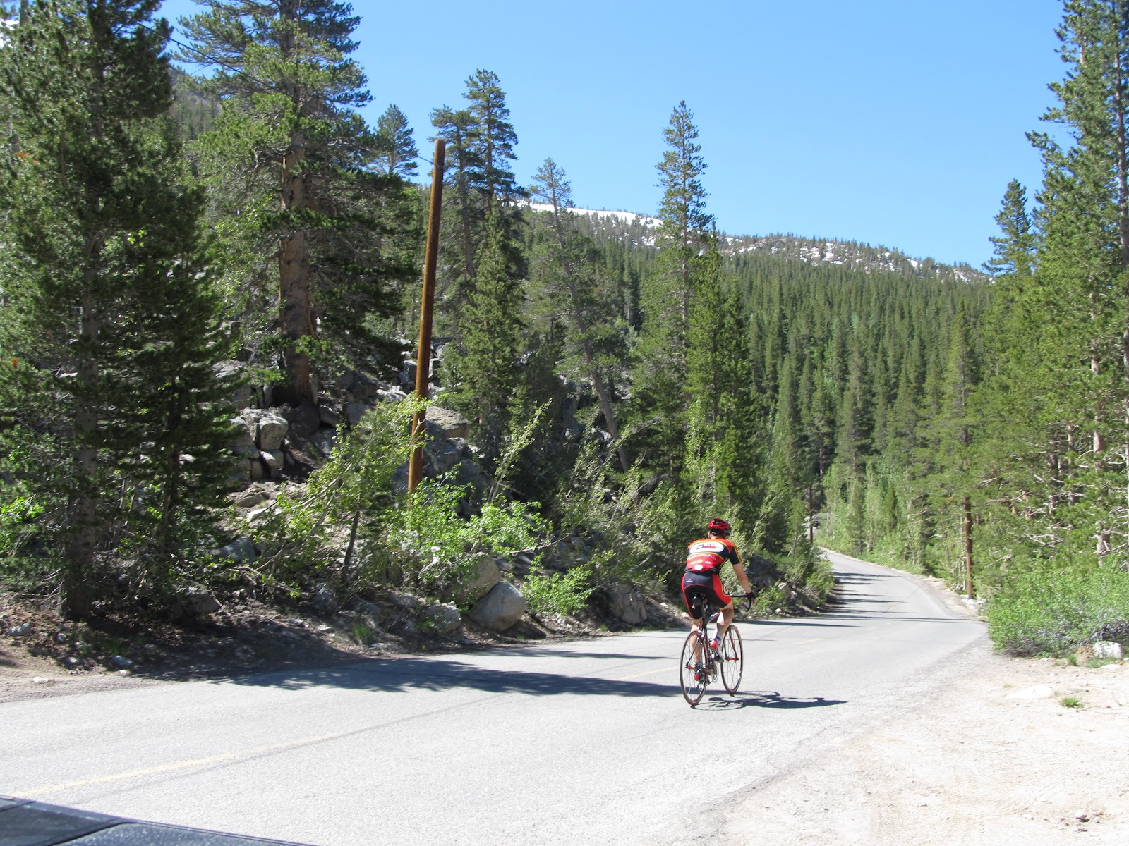 Bicycle ride up South Lake - cyclists on road