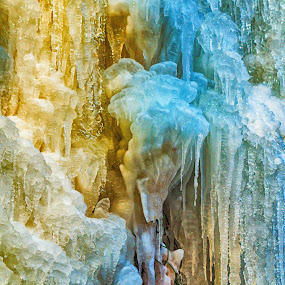 Icefall in the colors by Pavel Zach - Nature Up Close Water ( blue, ice, waterfall, rock, yellow )