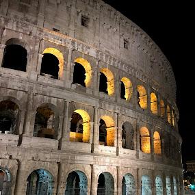 Roman Coliseum at Night by Scott Murphy - Buildings & Architecture Public & Historical