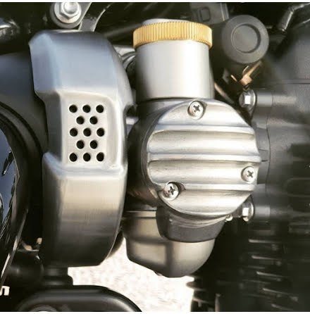 TPS Carb/Throttle Body Cover - Pair - Ribbed/Finned - Raw Finish