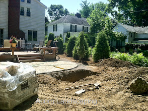 Photo: Acorn Ponds & Waterfalls, Certified Aquascape Contractor of Rochester NY since 2004. Check out our website www.acornponds.com and give us a call 585.442.6373.  Landscaping Penfield NY, work has begun. #Patio and walkway Installation in progress as well as a Basin for the new Pondless Waterfall Water Feature going in for this Penfield NY home.  To learn more about #LandscapeDesign please click here: www.acornponds.com/landscape-design.html  For More info about Geoff and Karen's amazing project please visit www.facebook.com/notes/acorn-landscaping-landscape-designlightingbackyard-water-gardens/landscape-design-installation-walkway-patio-rock-fountain-waterfall-in-penfield-/238744206162709  Acorn Ponds & Waterfalls of Rochester NY, 585-442-6373, is a Certified Aquascape Contractor, Landscape Designer, Outdoor Lighting Designer, Installer, Builder, Contractor and Design Service Company from Rochester, NY. We have professional Installation and Design Services available for the following: Landscape Design Outdoor Room Design Backyard Ponds and Waterfalls Design & Construction Patios and Walkways: Paver, Stone, Brick Low Voltage Landscape Lighting LED Landscape Lighting Swimming Ponds Ecosystem Ponds LED Outdoor Lighting Retaining Walls Fountains Water Features Pondless Waterfalls Pond Maintenance and Design Aquatic and Under Water LED Lights Bubbling Boulders and Urns Natural Stone Patios and Rock Gardens Garden Ponds Outdoor Kitchens Pizza Ovens Fire Pits Fish or Koi Ponds Waterfall Ponds Low Maintenance Plantings Commercial Landscape Design Residencial Landscape Design Drainage Issues, Solutions Aquascape Rainwater Collection Systems  We serve Pittsford NY, Penfield NY, Brighton NY, Fairport NY, Webster NY, Greece NY, Victor NY, Henrietta NY, Irondequoit NY, Rush NY  Click here for a free Magazine all about Ponds and Water Features: http://flip.it/gsrNN  Find us on Houzz here: www.houzz.com/pro/acornlandscapedesign/acorn-landscaping-and-ponds-llc  Sign up for you