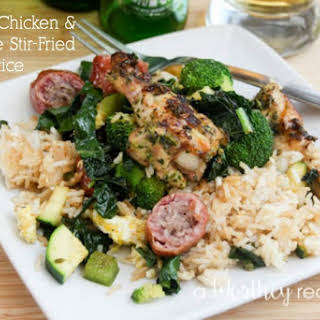 Grilled Chicken & Sausage Stir-Fried Rice.