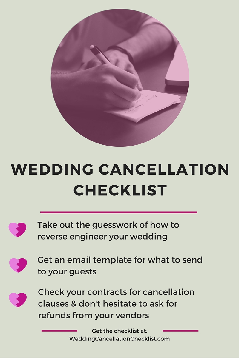 I Ve Recorded A Video For Brides Who May Be Faced With Cancelling Their Wedding Put The Cancellation Checklist In Pdf Form Including An Email