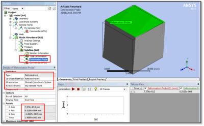 ANSYS - Инструмент измерения перемещений (Deformation Probe), применённый к связанной точке – таким образом измеряется осреднённое линейное перемещение
