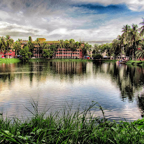 Beauty of a Dorm by Asraful Emon - Novices Only Landscapes ( shahidullah hall, campus of dreams, hostel, dhaka university, pond )