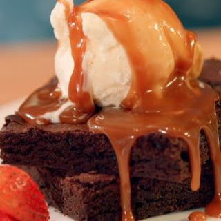 Chocolate Brownies With Salted Caramel Drizzle.