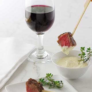 Beef Steak Bites with Fresh Horseradish Aioli Sauce.