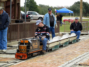 Photo: Jason Bienek, engineer with conductor Randy and on looker Gary Brothers    HALS Public Run Day 2014-1115 RPW