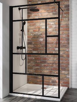 Paroi de douche fixe à l'italienne verrière, 90, 100, 120 cm, style atelier industriel, profilé noir