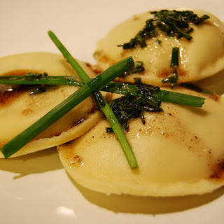 Mushroom and Spinach Ravioli with Chive Butter Sauce