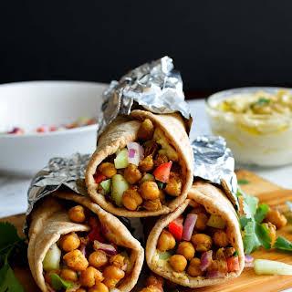 Roasted Chickpeas Hummus Wrap.
