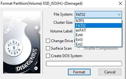 format fs ntfs error windows was unable