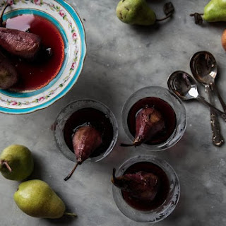 Red Wine and Cardamom Poached Pears