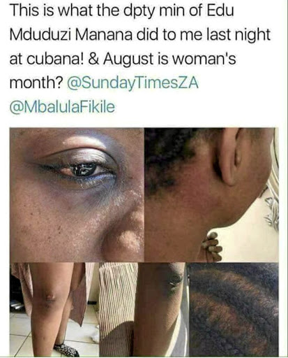 The tweet sent by Mandisa Duma after she was assaulted by Mduduzi Manana at Cubana nightclub.