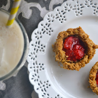 Flourless Oatmeal Cookie Cups with Raspberry Filling