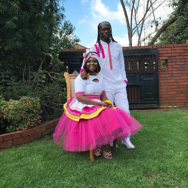 Mpho Maboi and Reneilwe Letsholonyane during their traditional wedding.