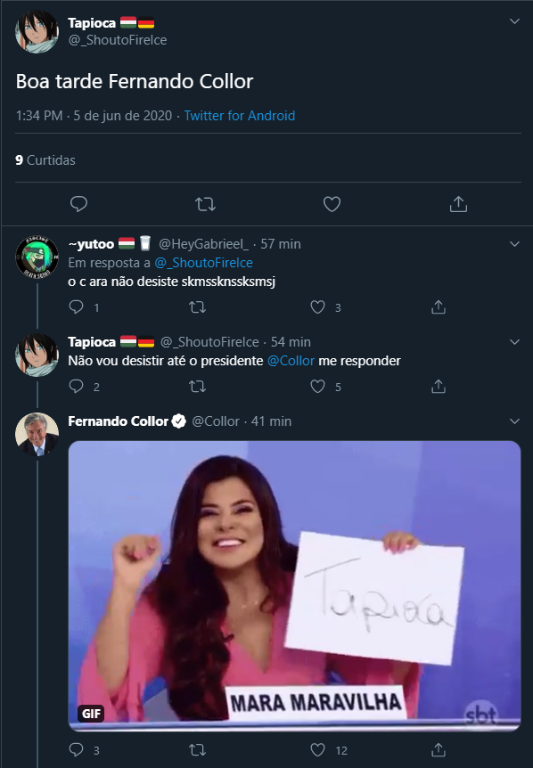 Fernando Collor responde tweets com memes