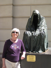 Photo: Pat with the Commendatore statue from Don Giovanni.
