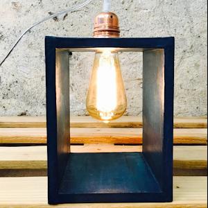 lampe béton ciré design couleur bleu canard