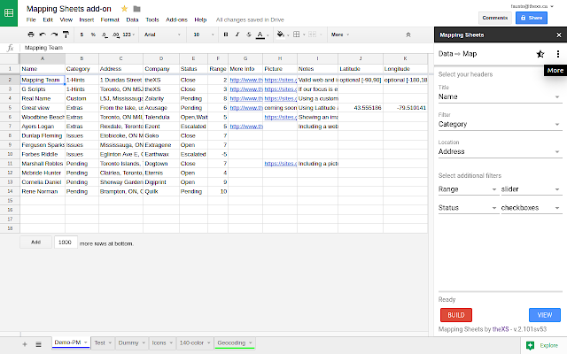 Mapping Sheets - Google Sheets add-on on