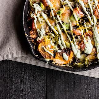 BBQ Sweet Potato Skillet Nachos with Avocado Crema