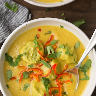 Curried Sweet Corn Soup with Chickpea Dumplings.