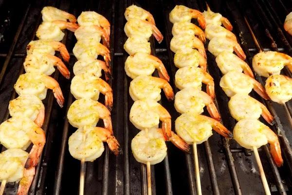Sprinkle 1 side of skewered shrimp with sugar. Grill shrimp, sugared side down, over...