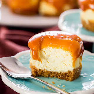 Mini Salted Caramel Cheesecakes.