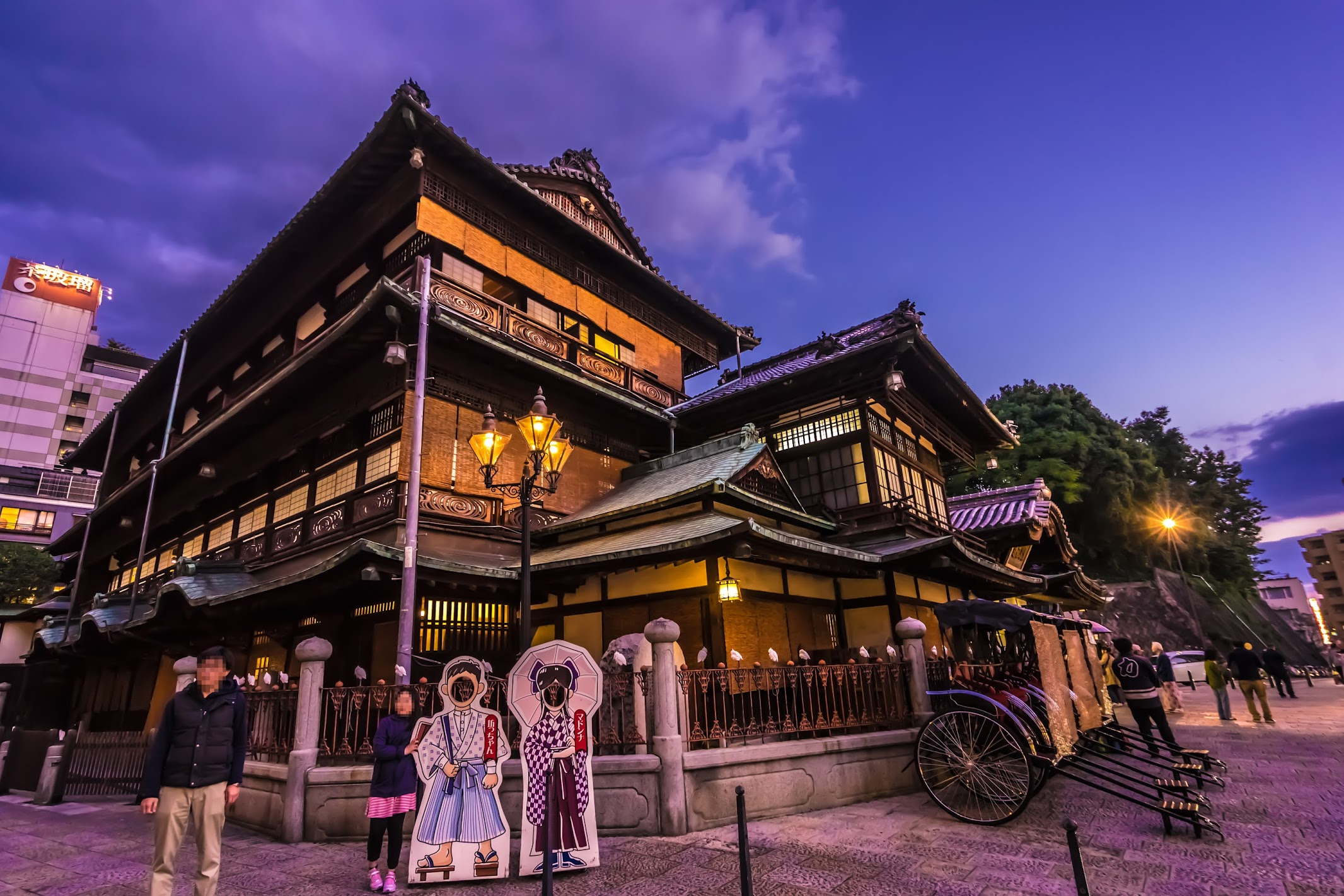 Dogo Onsen Honkan Evening view2
