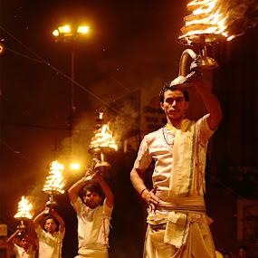 GANGA AARTI by Anirban Roy - People Street & Candids ( #lamps, #fire, #still-life, #varanasi, #culture, #india, #people )