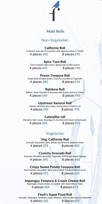 The Finch menu 2