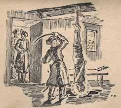 """Photo: Irena Dybowska, drzeworyt. Ilustracja do broszury """"KŁOSY Z BOŻEJ ROLI """" wyd. 1935 r. Pułkownik kozacki cięciem szabli kończy nieludzkie męczarnie bł. Andrzeja Boboli. BŁ. ANDRZEJ BOBOLA (1591 - 1657). Święto 23 maja."""