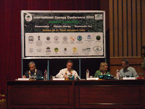 Photo: I went to Bangalore to attend the International Canopy Conference. Here are some of the Plenary Speakers and organizers - Kamal Bawa, Thomas Lovejoy, Margaret Lowman, and Raman Sukumar.