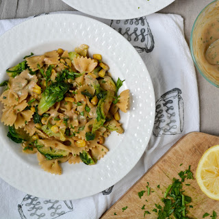 Brussels and Bowties Tahini Pasta.
