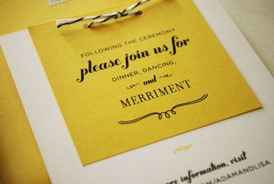 Lisa + Adam's Yellow Floral Wedding Invitations: Please join us for dinner, dancing and merriment...