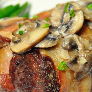 Bacon-Wrapped Venison Tenderloin with Garlic Cream Sauce Recipe