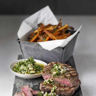 Steak With Healthier Sweet Potato Fries.